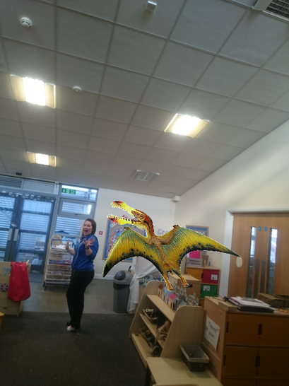 A pterodactyl chasing Miss Hayley