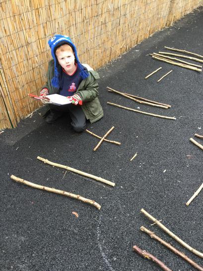 Using sticks to make number sentences