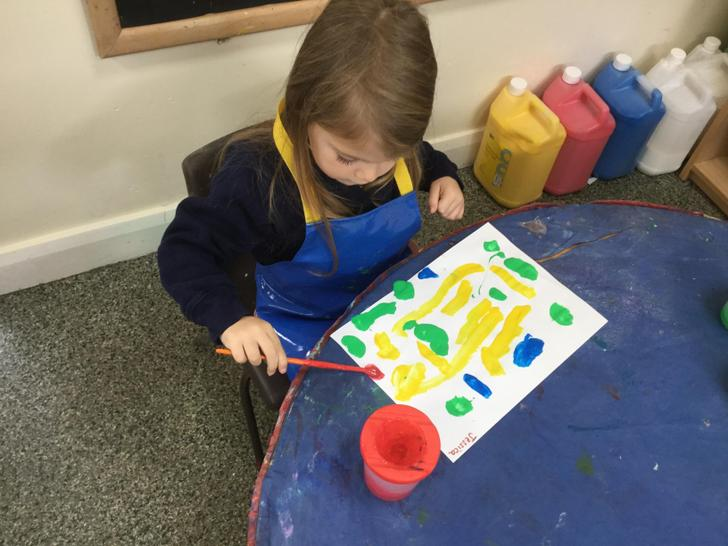 We explored colour at the painting table