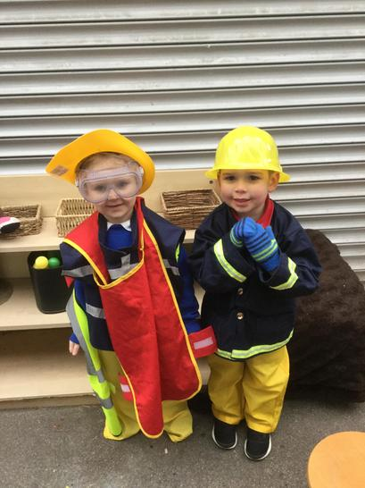 Fighting a blaze in the firefighter role play!