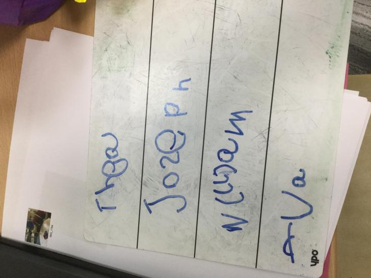 Thea wrote her own and her friends name