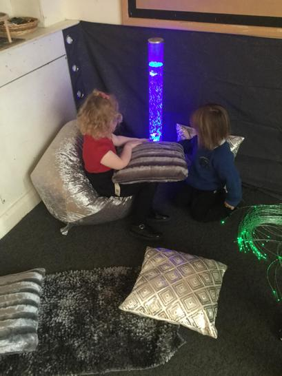 Looking at the bubble tube