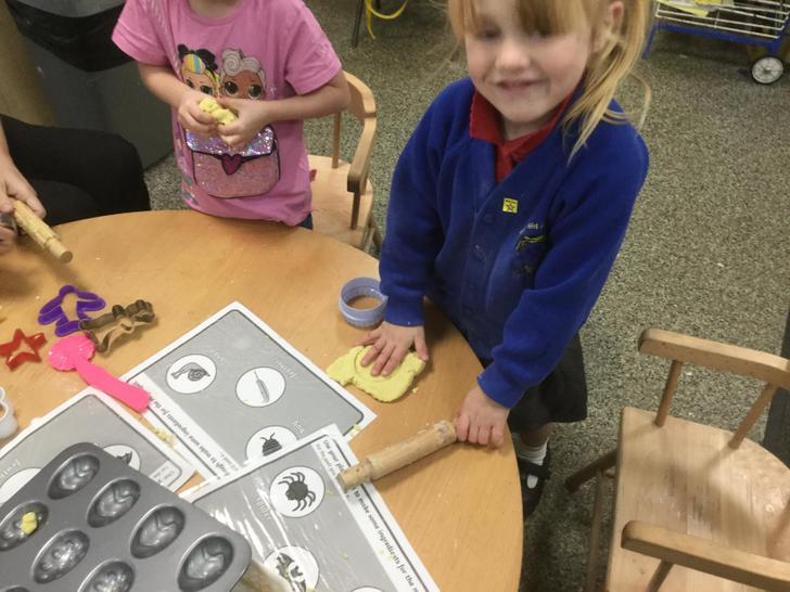 Using playdough to make shapes