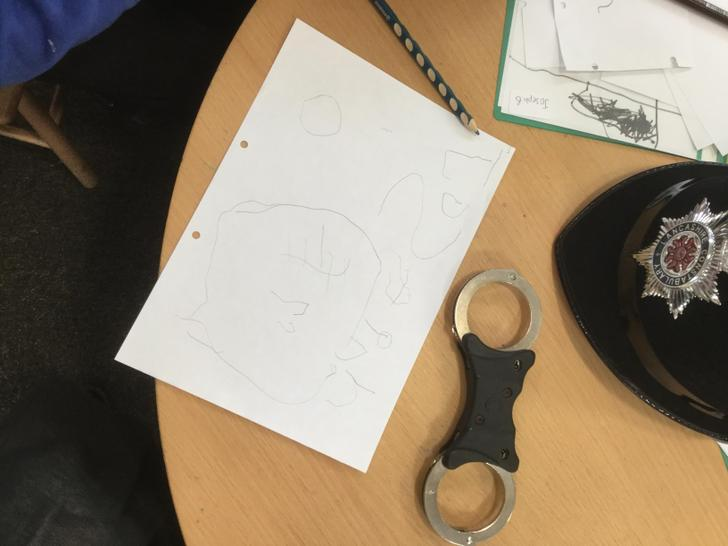 Joseph tried to draw the badge on the helmet