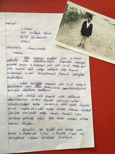 Letters are written in Tamil, a language spoken in Southern India