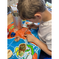 Careful painting with colour wash.