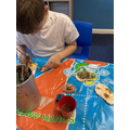 Painting the dinosaur fossils