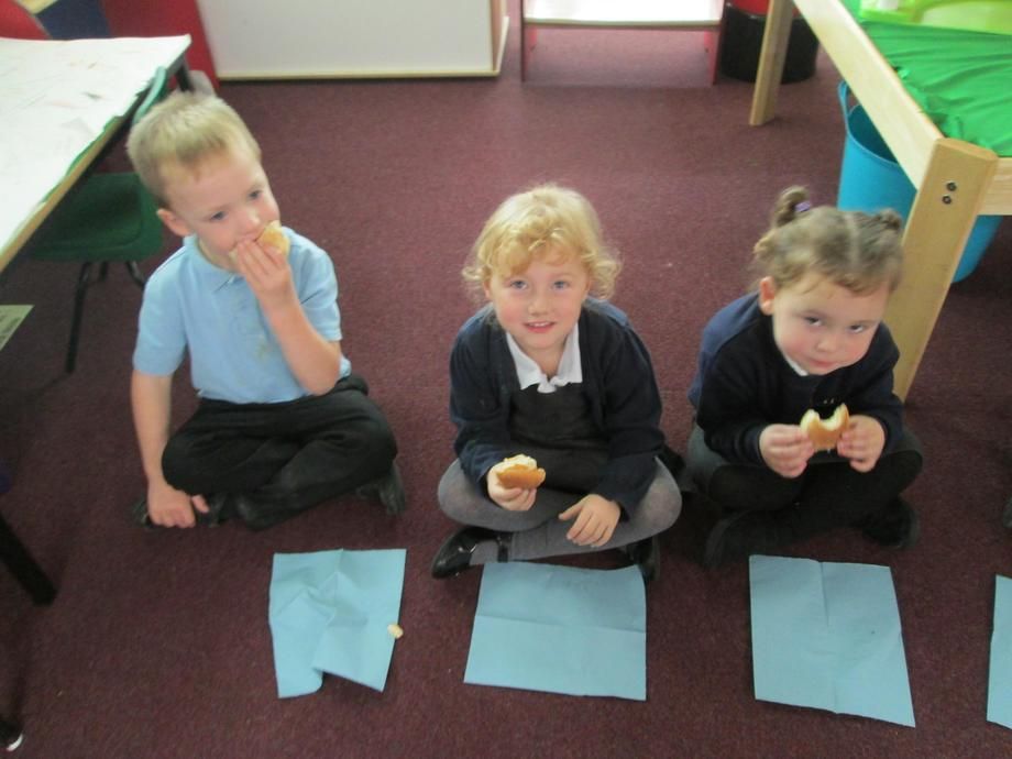 Then enjoyed eating the bread we made.