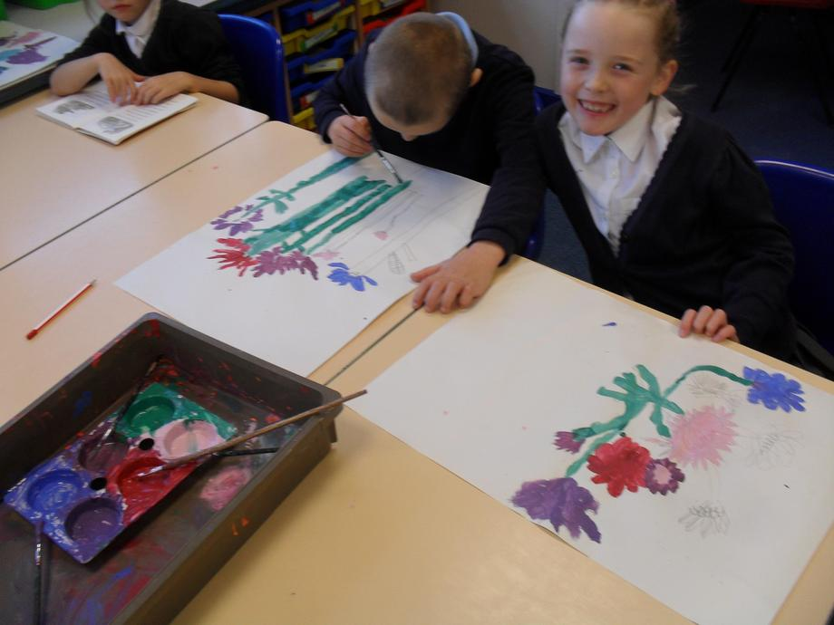 Then we had to mix the colours and paint them.
