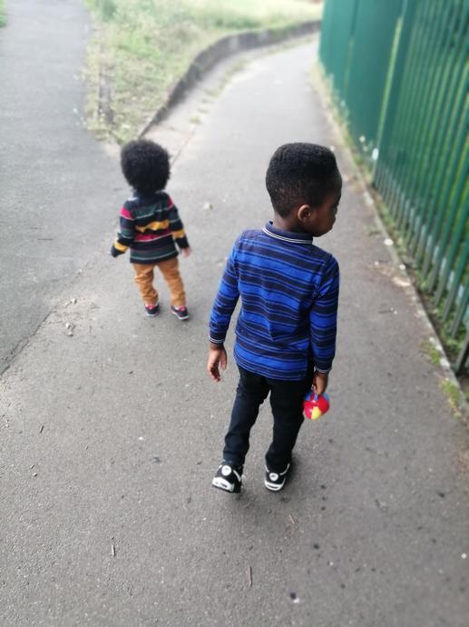 Raphael and Reginald walking