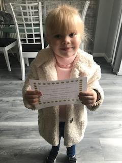 A pleased Bee with her certificate!