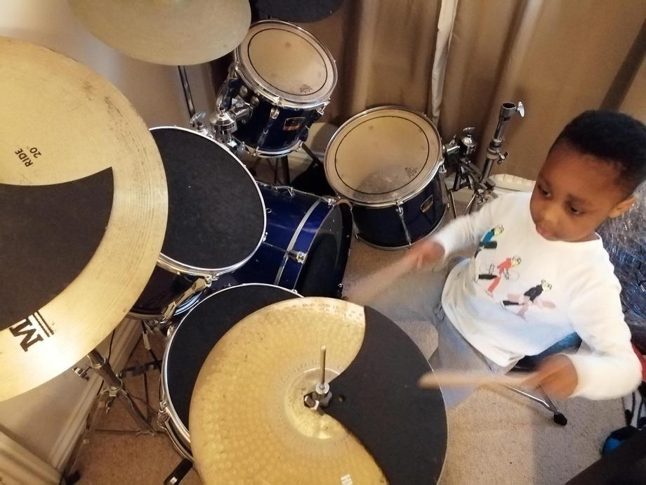 A budding drummer!