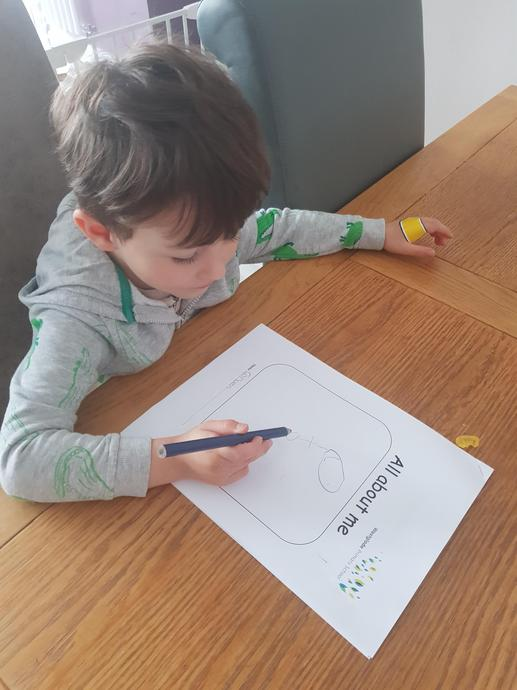 Corben starting to fill in his F2 booklet