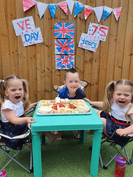 Rosie, Lilly and Ollie celebrating VE day