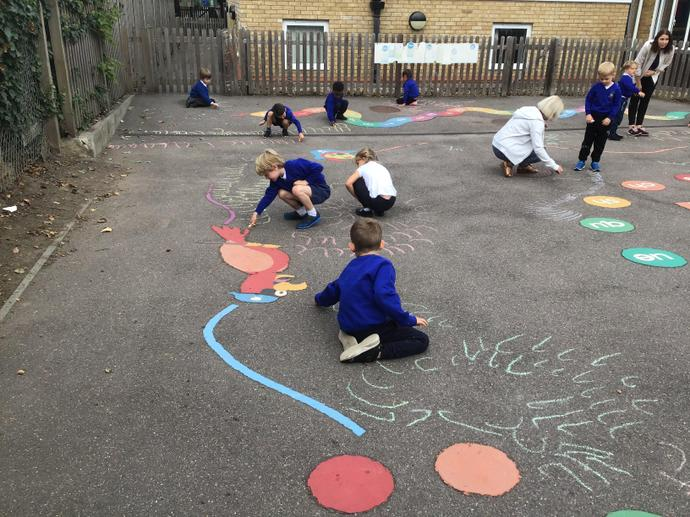 Practising our handwriting on the playground