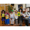 The lucky winners with their book prize.