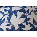 Birds, leaves and a butterfly, cut out of wood.