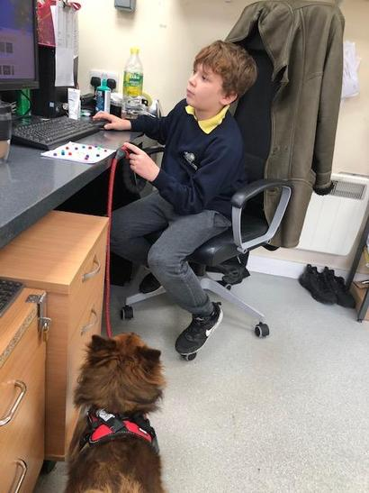 Charlie and I in the office