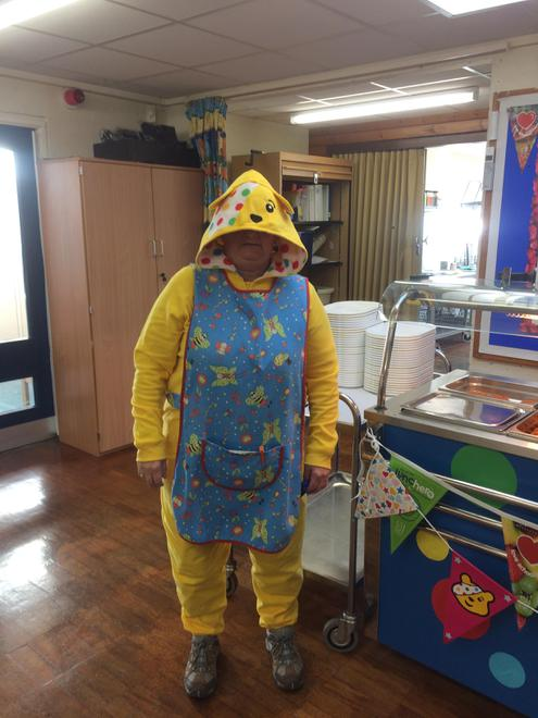 Pudsey helped out at lunchtime!