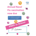 Flu vaccinations in school on Wednesday 8th October 2020