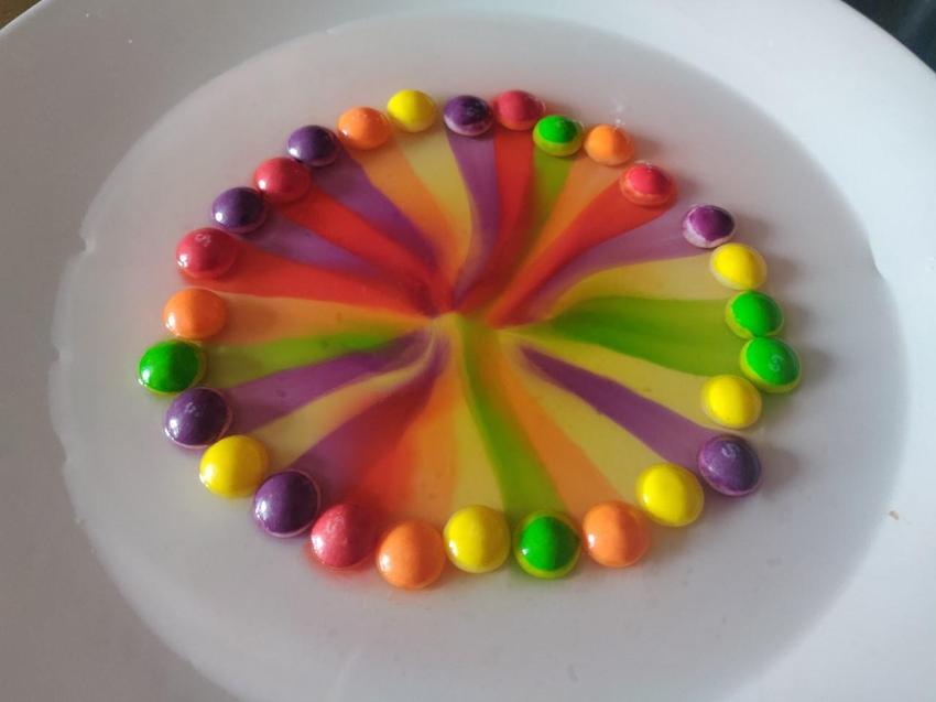 Declan made a skittley rainbow - yum