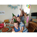 Enjoying his family party.