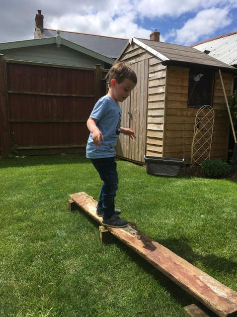 Balancing carefully - his own obstacle course