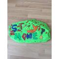 Jack is enjoying decorating stones