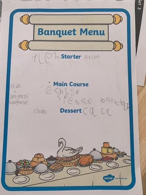 Eva-Rose has completed her menu - yummy