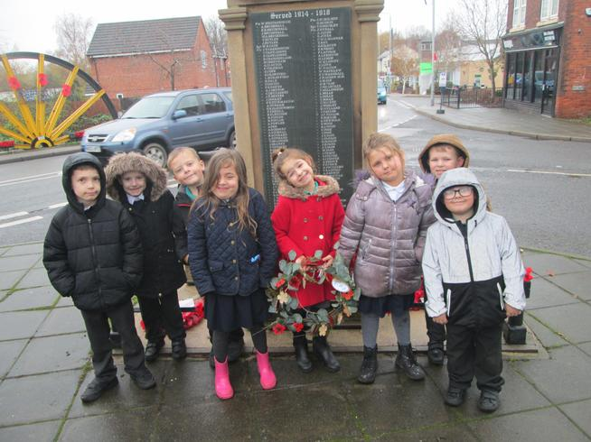 Our Year 2 students laying our wreath at the local war memorial.