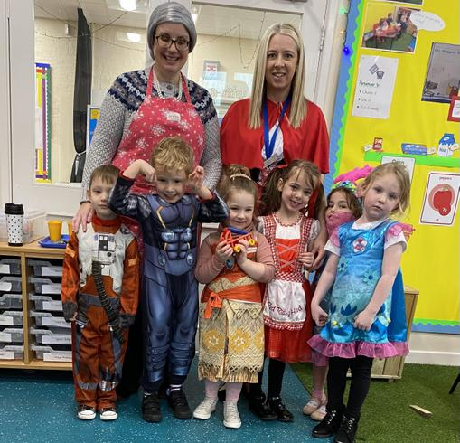 Reception Class along with Little Red Riding Hood and her Grandma