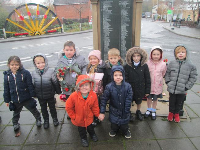 Our Year 1 students laying our wreath at the local war memorial.