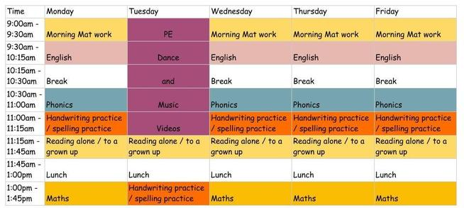 Here is our suggested timetable for home learning.