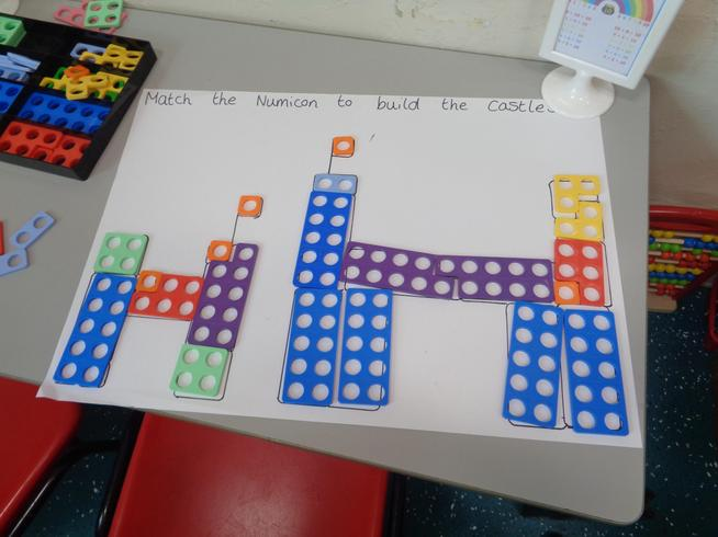 Matching Numicon to make the castle.