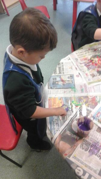 We created icicles using glue and paint.