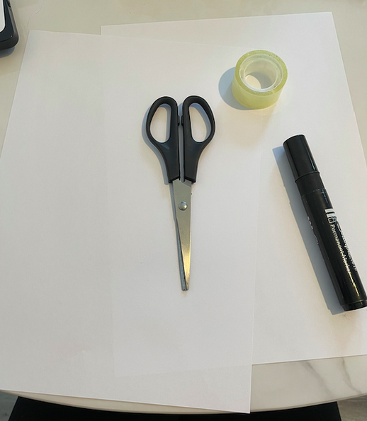 You will need: 2 pieces of white paper, scissors, a black pen and tape