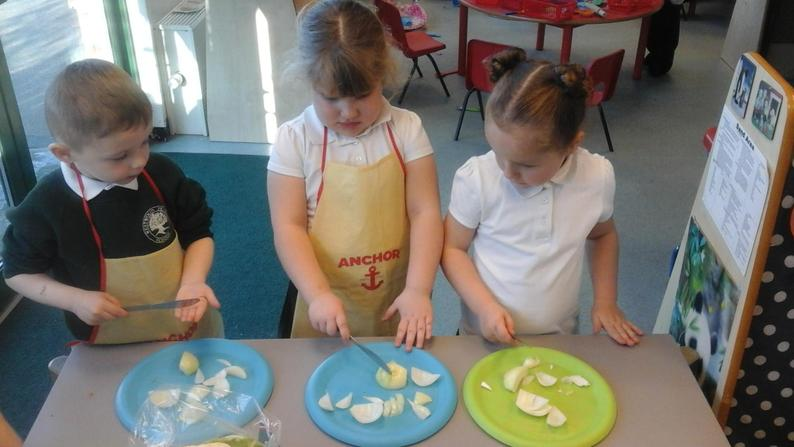 The children loved chopping the vegetables up.