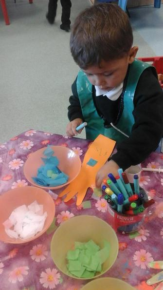We used lots of collage materials