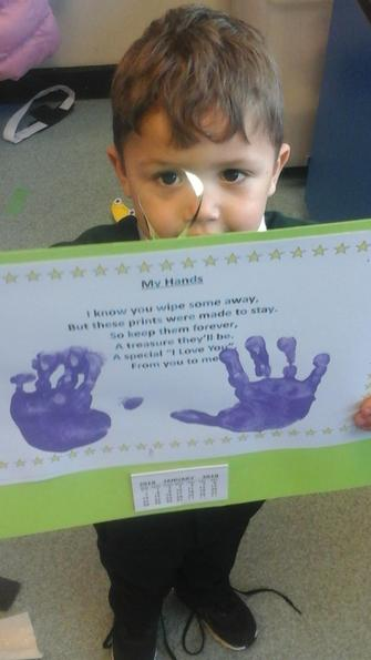 We made calendars for our parents using handprints