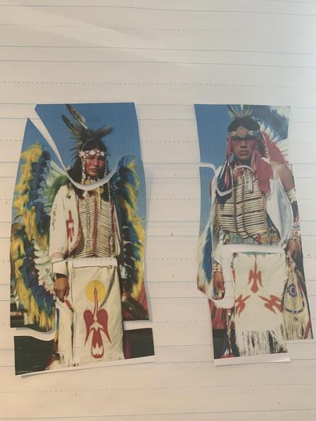 Puzzle- each Native has been cut up into sections- head, body/chest/back, arms/hands, legs