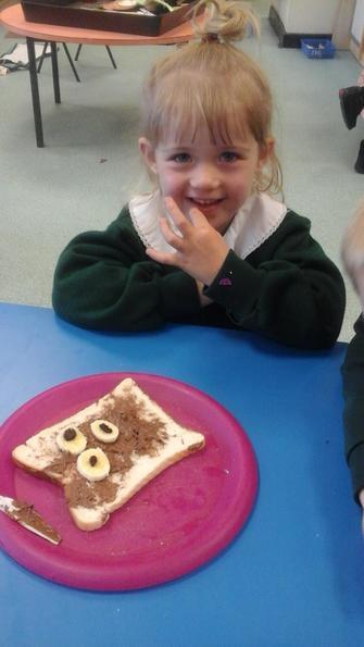 Lena loved her bear bread!