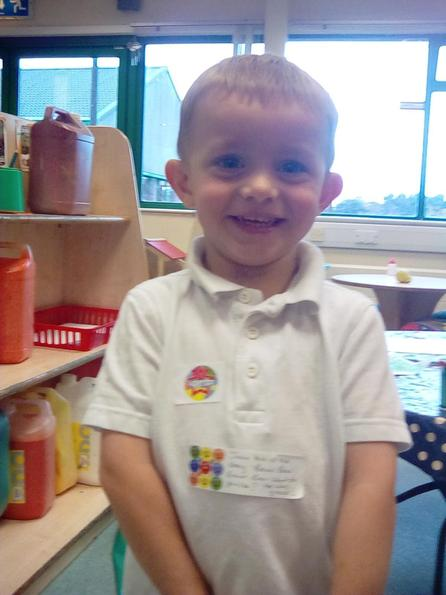 One proud little boy who knows mummy will be proud too!