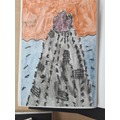 Using line and shading to create a volcano painting