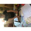 Hollie making the salt dough