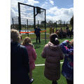 Miss Hartley and Mr Baxter cutting the ribbon