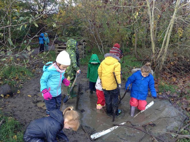 Enjoying the mud and water !