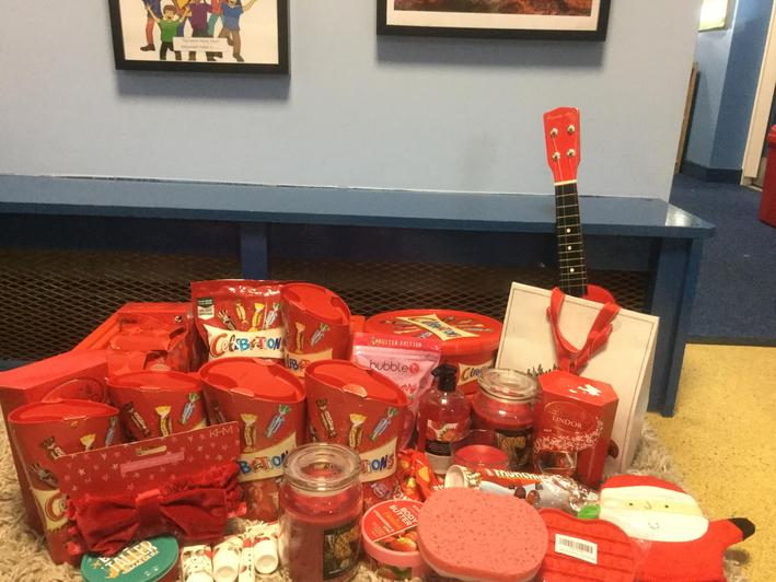 Red raffle prizes! Thankyou so much to all reception parents for donating prizes.