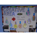 In the creative area, we draw, paint, make and create.