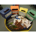 We are learning the different between coloured recycling boxes