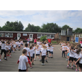 Warming up for our mile during Sports Week